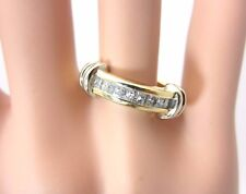 14K yellow gold 0.64 carat princess cut diamond ring wedding band