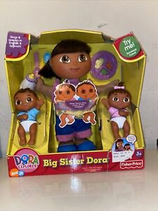 Fisher Price Big Sister Dora The Explorer Doll Baby Sister Brother Twins NRFB