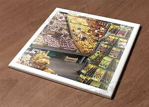 Ceramic Tile HotPlate kitchen Trivet Holder market food flower variegated gift