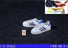 "1/6 WHITE AD sneakers shoes for 12"" male figure hot toys Phicen ganghood ❶USA❶"