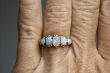 FINE ANTIQUE VICTORIAN 9 CARAT GOLD AND 1.00 CT FIVE STONE GRADUATED OPAL RING L