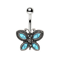 Antique Turquoise Butterfly Navel / Belly Bar - 10mm  Body Jewellery