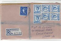Great Britain 1969 Registered Paddington to Leeds Multiple Stamps Cover ref22214
