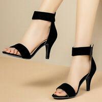Women Comfort Open Toe Summer Dress Sandals Ankle Strap Slim High Heels Shoes