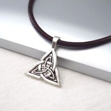 Pendant Dark Brown Leather Necklace Silver Alloy Celtic Knot Triquetra Symbol