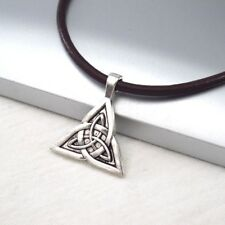 Silver Alloy Celtic Knot Triquetra Symbol Pendant Dark Brown Leather Necklace