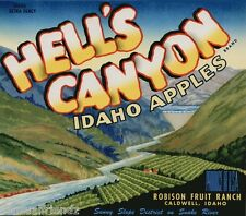 Hell's Canyon Apples Fruit Crate Label Art Print Snake River Caldwell Idaho