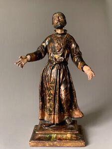 Statue de saint,  école espagnole XVIII éme siècle