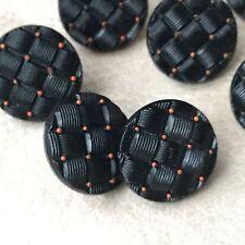 7 BOUTONS Anciens en Verre 1900 Effet Matelassé 15 mm - 7 French Glass Buttons