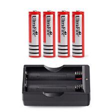 4pcs Rechargeable Li-ion 18650 3.7V Battery Batteries + Smart Charger US Stock