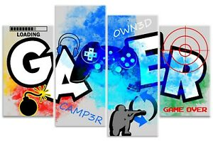 Graffiti Gamer Quote Boys Computer Controller Gaming Canvas Art Print Picture
