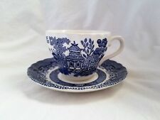 Royal Wessex Blue Willow Cup and Saucer Set Birds England Swirl Rim
