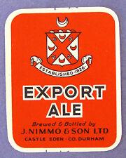 J Nimmo & Son Ltd EXPORT ALE beer label ENGLAND