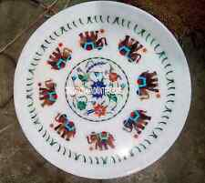 """9"""" White Marble Decorative Serving Plate Rare Jasper Elephant Inlay Decor Gifts"""