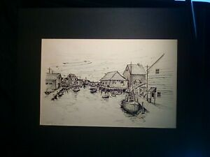 "Peggy's Cove, Nova Scotia Original Pen & Ink 16""x20"" Signed Shankweiler 1975"