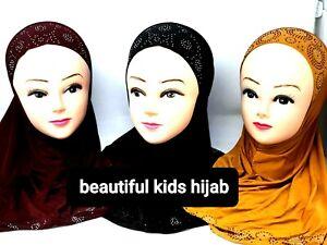 Kids Girls /womeMuslim Hijab Islamic Arab Scarf Shawls With  Stone Flowers