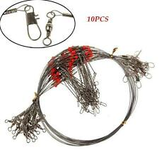 10Pcs Durable 2 Arm Stainless Steel Fishing Wire Trace Leader With Snap Spinner