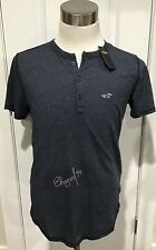 NWT Hollister Men's Must-Have Henley T-Shirt, Heather Navy, X-Large