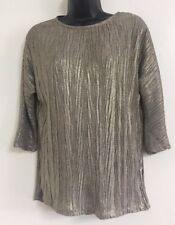 NEW Ex OASIS Pewter Sparkly Plisse Crinkle Formal Going Out Blouse Top Size XS-L