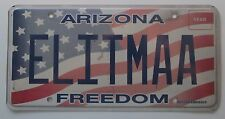 Arizona 2012 FREEDOM VANITY License Plate ELITE MA