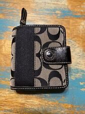 coach trifold womens wallet black & white signature wallet