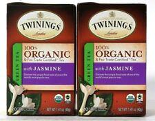 2 Boxes Twinings 1.41 Oz 100% Organic Green Tea With Jasmine 20 Count Tea Bags
