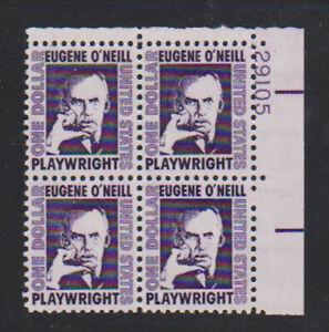 Scott 1294 $1 Eugene O'Neill Prominent Americans Series Plate Block of 4