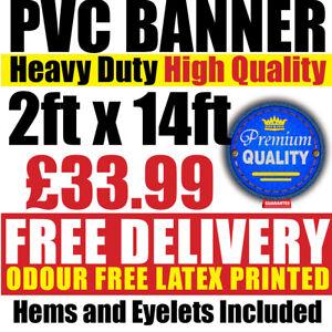 PVC Banners Outdoor Vinyl 2ft x 14ft Advertising Sign Display Custom Printed