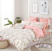 Pink Blossom Print Cotton Bedding Set:1 Duvet Cover & 2 Pillow Shams Queen/King