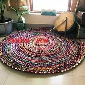 Rug 100% Cotton Handmade Reversible multicoloured Round Area Rug Modern Look Rug