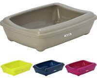 Cat Large Litter Tray + Rim 50x38x14cm 4 Colours Quality Box Toilet Scoop Loo
