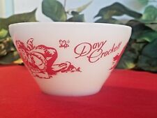 Vintage FIRE KING 1950's Davy Crockett Red & White Milk Glass Berry/Cereal Bowl