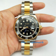 2424 Bliger GMT 40mm Yellow Gold Case Strap Black Dial Steel Automatic Men Watch