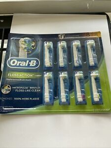 Oral-B Floss Action Replacement Brush Heads 8 Pieces - White/Blue