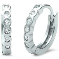 Genuine Diamond Huggie Hoop Earrings - Set in Solid Sterling Silver - .25 ct.