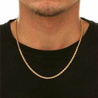 "18K Solid Gold Rope Chain Necklace Men Women 14"" 18"" 20"" 22"" 24"" 26"" 28"" 30"""