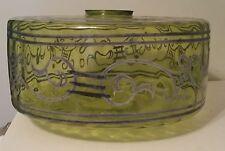 """Vtg 15"""" Hand Blown Hand Painted Clear Green Glass Lamp Shade Oil Kerosene Globe"""