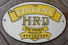 SUPERB HEAVY 4 COLOUR CAST IRON ADVERTISING SIGN THE VINCENT HRD CO STEVENAGE