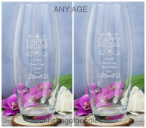 PERSONALISED Engraved GLASS ANY AGE FLOWER VASE for Her Gift Novelty Ideas Women
