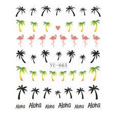 Hot Sell Cartoon Palm Tree Flamingos Pattern Nail Decal Water Transfer Sticker