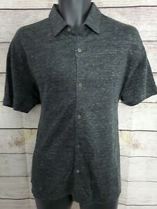 Theory Men's 100% Linen Button Up Polo Rugby Shirt - Gray/Black - Size M (A3)