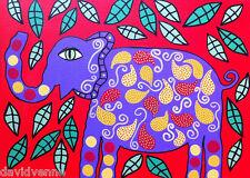 Purple Elephant Red Mexican Flowers Kerri AMBROSINO ACEO Canvas Giclee Print ATC