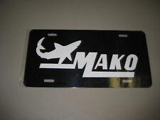Mako Boat License Plate/ Black Tag W/ White Letters