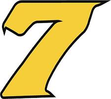"""x1 4"""" Race Number vinyl stickers (more in ebay shop) Style 2 Number 7 Black/yell"""
