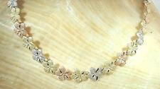 "5.5mm Hawaiian Solid 14k Tri-Color Gold DC Matted Plumeria Flower Bracelet 8.0"""