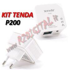 2x KIT POWERLINE ADATTATORI TENDA P200 CONVERTITORE RETE ELETTRICA LAN ETHERNET