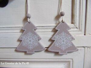 2 décorations de Noël sapins en bois taupe & flocon blanc à suspendre NEUF