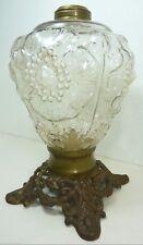 Antique 19c Cast Iron Glass High Relief Flower Kerosene Oil Lamp ornate details