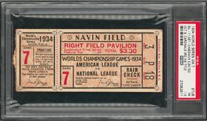 1934 World Series St. Louis Cardinal vs. Detroit Tigers Game 7 Ticket Stub -PSA/