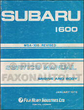 1978 Subaru Shop Manual DL GF 1600 Original Repair Service Book OEM